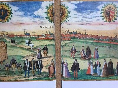 Old Historic Antique Map Nuremberg, Germany 1575 Braun & Hogenberg REPRINT 1500s 8
