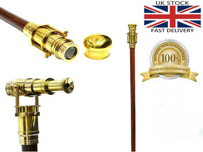 Wooden Walking Stick Brass Telescope Handle Foldebel Cane Dismantle In To Four 11