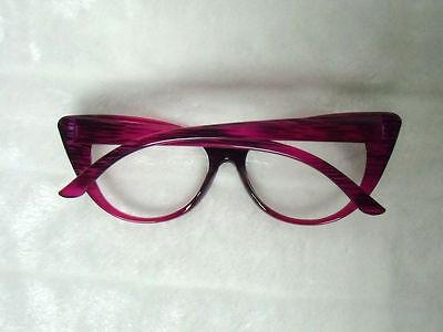 Lunettes papillon fantaisie verres transparents rose violet rayures pinup retro 7