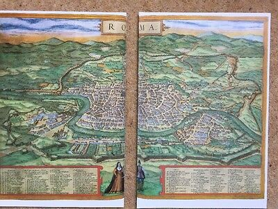 Old Antique Historic Map Rome, Italy: 1572 by Braun & Hogenberg REPRINT 1500's 10