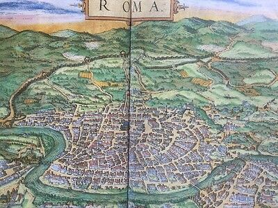 Old Antique Historic Map Rome, Italy: 1572 by Braun & Hogenberg REPRINT 1500's 2