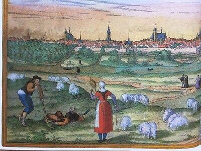 Old Antique Map Orleans, Bourges, France: 1575 Braun & Hogenberg REPRINT 1500's 7