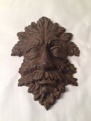 "Green Man Leafy Tree Man Solid Cast Iron 10"" Wall Plaque Sculpture 0170-05631 4"