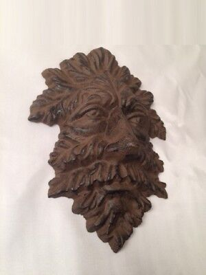 "Green Man Leafy Tree Man Solid Cast Iron 10"" Wall Plaque Sculpture 0170-05631 3"