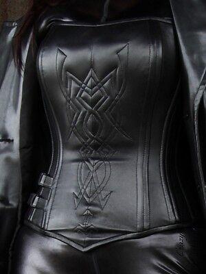 Lederkorsett Leder Korsett Schwarz Tribal Korsage Größe 32 - 58  XS - XXXL
