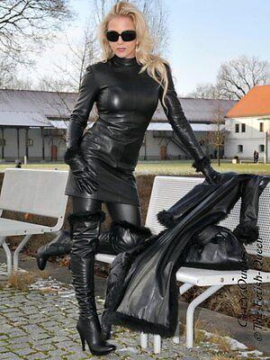 a7efeff8721 LEDERKLEID LEDER KLEID Schwarz Langarm Größe 32 - 58 XS - XXXL - EUR ...