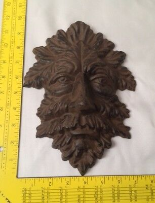 "Green Man Leafy Tree Man Solid Cast Iron 10"" Wall Plaque Sculpture 0170-05631 9"