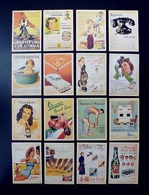 Lot of 32 Old Memories Forever Old Movie & Ads Poster Vintage Postcards 2