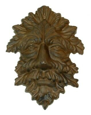 "Green Man Leafy Tree Man Solid Cast Iron 10"" Wall Plaque Sculpture 0170-05631 5"