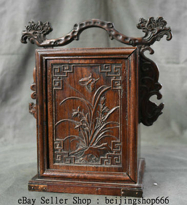 """11"""" Old China Huanghuali Wood Dynasty Portable Layer Drawer Jewelry Box Cabinet 6"""