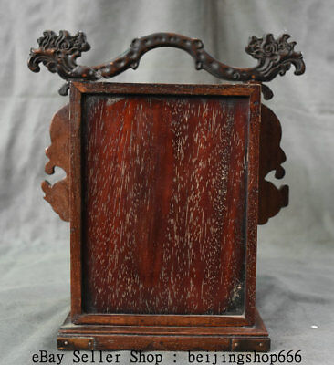 """11"""" Old China Huanghuali Wood Dynasty Portable Layer Drawer Jewelry Box Cabinet 9"""