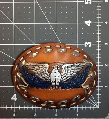 Vintage Flying Phoenix Soaring Eagle Hand Tooled Custom Leather Bird Belt Buckle 5