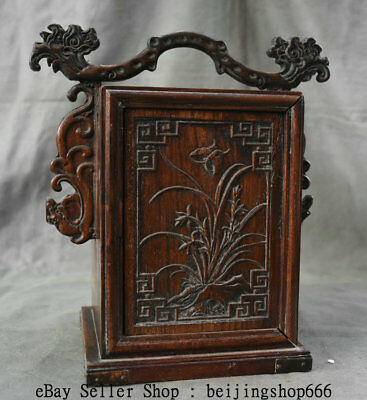 """11"""" Old China Huanghuali Wood Dynasty Portable Layer Drawer Jewelry Box Cabinet 5"""