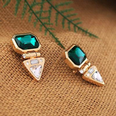 Boucles d/'Oreilles Clous Doré Rectangle Vert Emeraude Triangle Art Deco BB17