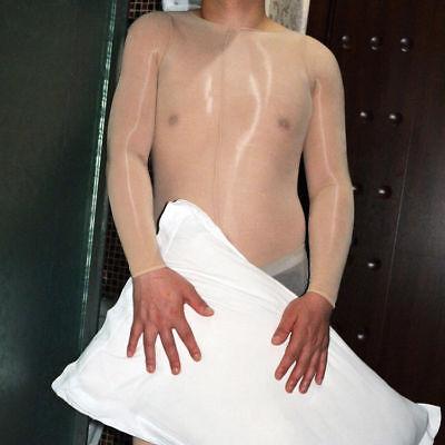 Herren Nylon Glanzstrumpfhose Overall Bodystocking Catsuit Penishülle Bodysuit 6