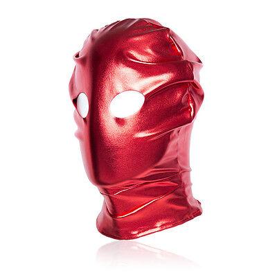 Spandex With Latex Full Head Hood Mask Open eyes Fold Mask Bondage Restraints 5