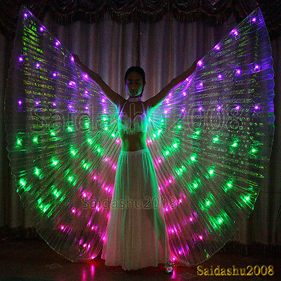rechargeable LED isis wings light up belly dance cosplay glow costume sticks bag