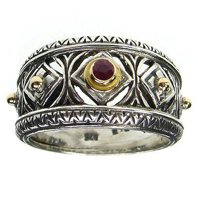 Gerochristo 925 Silver and 18K  Solid Gold Byzantine Handmade Ring with Ruby 6