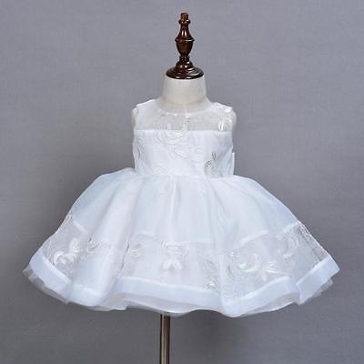 Luxury Embroidery Lace Christening Gown Baby Girl Baptism Tutu Dress Wedding