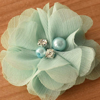 DIY Chiffon Fabric Flower with Pearls and bling Rhinestone Embellishment Craft 8