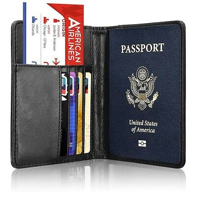 RFID Blocking Leather Passport Holder Case Cover Wallet for Securely Travel Trip 4