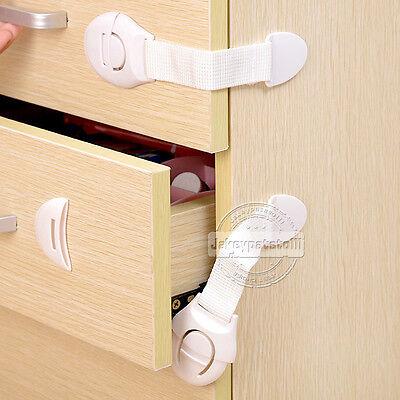 10 x Child Baby Cupboard Cabinet Safety Locks Proofing Door Drawer Fridge Kids