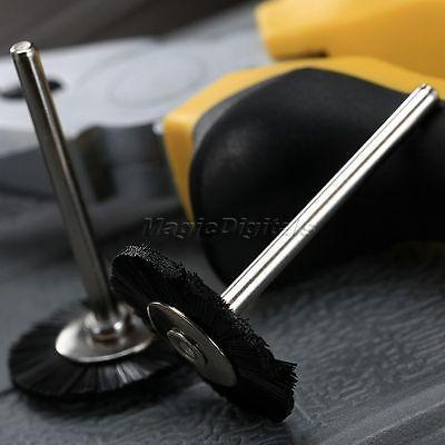 "5Pc 25mm Black Nylon Bristle Wheel Wire Brush 1/8"" Shank For Grinder Rotary Tool 8"