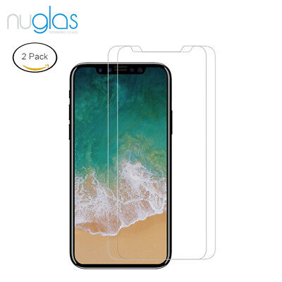 2 x GENUINE NUGLAS Tempered Glass Screen Protector For Apple iPhone X 5