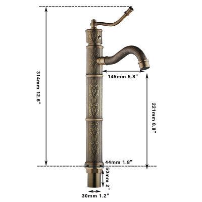 Antique Brass Bathroom Basin Faucet Vessel Sink Single Handle Tall Mixer Tap 8