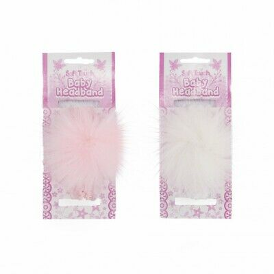 Baby Girls Soft Touch Faux Fur Pom Headband Spanish Romany Pink or White 2
