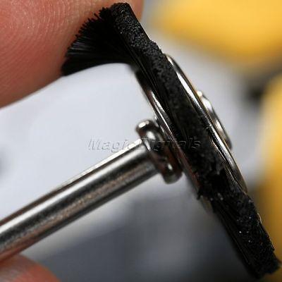 "5Pc 25mm Black Nylon Bristle Wheel Wire Brush 1/8"" Shank For Grinder Rotary Tool 9"