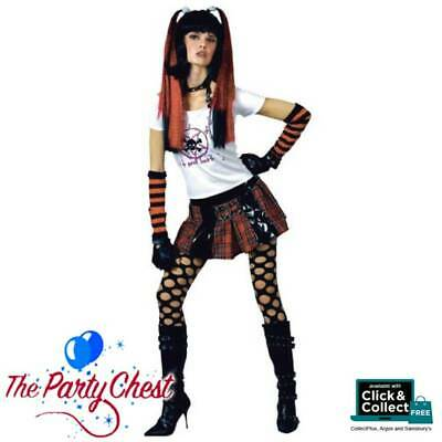 Adulte Punk Rocker Girl Costume Gothique Punk Rocker Ladies Fancy Dress Outfit