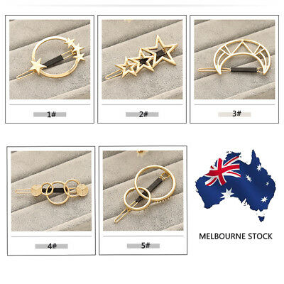 Fashion Women Metal Moon Circle Charm Hairpin Hair Clip Elegant Hair Accessories