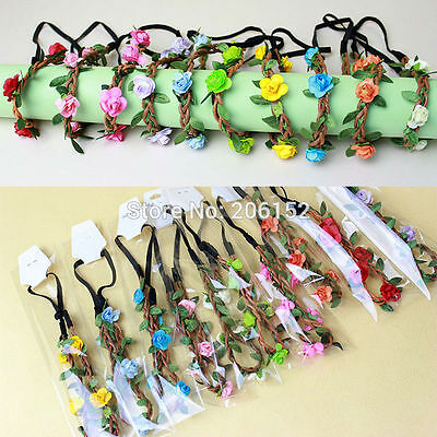 Floral flower headband wedding bridesmaid festival summer boho hair band garland 8