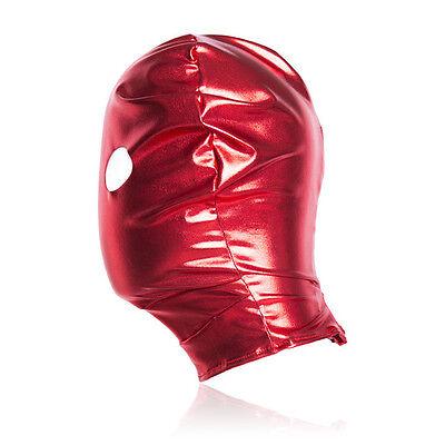 Spandex With Latex Full Head Hood Mask Open eyes Fold Mask Bondage Restraints 6