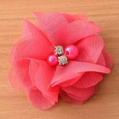 DIY Chiffon Fabric Flower with Pearls and bling Rhinestone Embellishment Craft 11