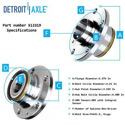 Front /& Rear Wheel Bearing /& Hub Assembly Replacement for Audi TT - FWD Detroit Axle Passat, CC, EOS, Tiguan, Jetta Only w// 8th VIN Digit K Volkswagen Models