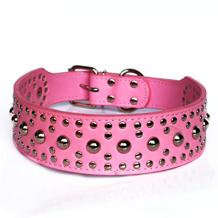 Studded Rivet Spiked Metal Dog PU Faux Leather Collar Pitbull Mastiff BLACK RED 4