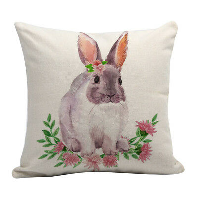 Happy Easter Bunny Pillow Cover Linen Sofa Cushion Home Decor Case 7