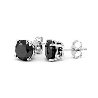Black Diamond Stud Earrings Women Earrings and Mens Stud Earrings 14k White Gold 6