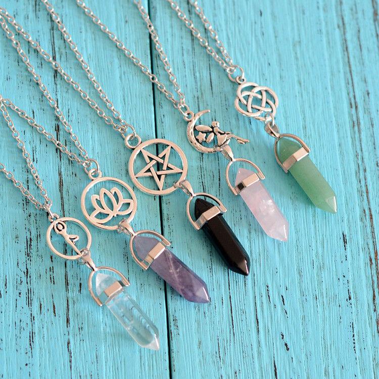 Gemstones Natural Crystal Quartz Healing Point Chakra Stone Pendant Necklace