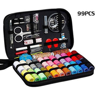 Travel Sewing Kit Thread Threader Needle Tape Storage Bag Scissor Thimble Set US 2