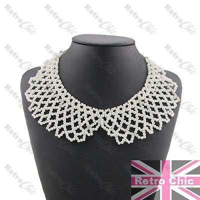 VINTAGE antique style PEARL COLLAR choker BIG BEADED NECKLACE silver tone chain 2