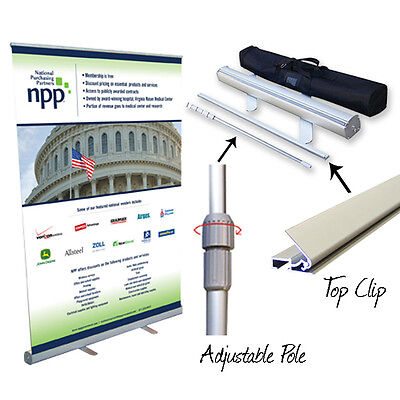 "57"" Retractable Roll Up Banner Stand Pop Up Trade Show Display"