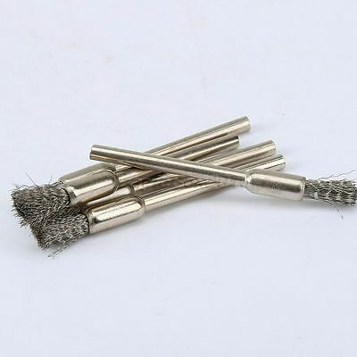 """5mm Steel Wire Wheel Pencil Brush 3.17"""" Shank Rotary Tool For Grinder Drill 5PCS 7"""