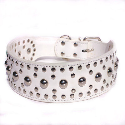 Studded Rivet Spiked Metal Dog PU Faux Leather Collar Pitbull Mastiff BLACK RED 7