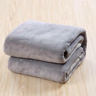 Home Soft Warm Solid Micro Plush Fleece Blanket Throw Rug Sofa Bedding Mat AU