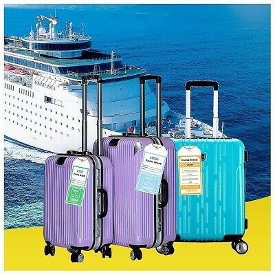 6X NEW *REUSABLE* Cruise Luggage Tag/eTag Holder *THICK PVC Zip Seal,Steel Loop 8