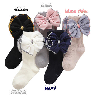 Girls Kids Childrens Pretty Big Bow Wedding Party Knee High Socks  2-10 years 3