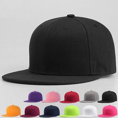 Snapback Baseball Cap Plain Hip Hop Retro Classic Vintage Funky Golf Flat Hat 2